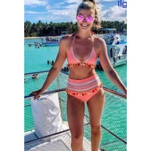 NWOT Neon Pink/Coral Tassle High Waist Bikini